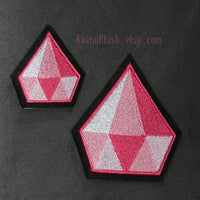 Pink Diamond - Embroidered Iron-on Patch