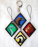 Wood Charm Magical Animals keychain Set - Lion - Badger - Eagle - Adder Snake