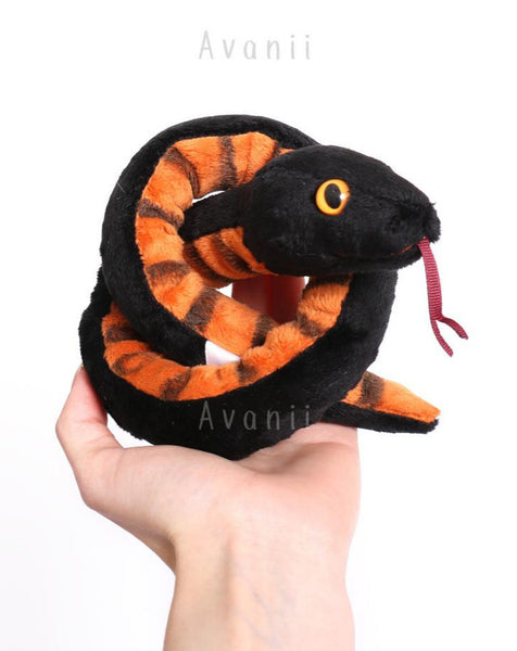 Black Snake Crowley - handmade plush animal - minky serpent