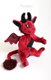 Red Demon / Devil - handmade fantasy plush - minky miniature