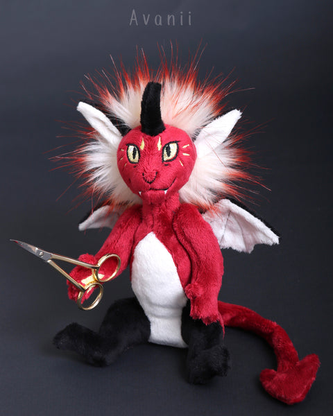 Fire Demon / Devil - handmade fantasy plush - minky miniature