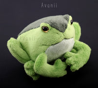 Small Grass Green Frog / Toad - handmade plush animal - minky miniature
