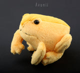 Small Golden Frog / Toad - handmade plush animal - minky miniature