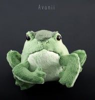 Small Green Frog / Toad - handmade plush animal - minky miniature