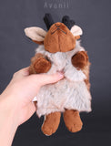 Brown Jackalope / Horned Rabbit - small floppy - handmade plush animal