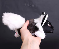 Kitsune Cub - White Shadow Fox - small floppy - handmade plush animal