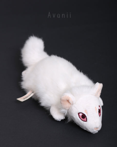 Albino Ferret 2 - small floppy - handmade plush animal