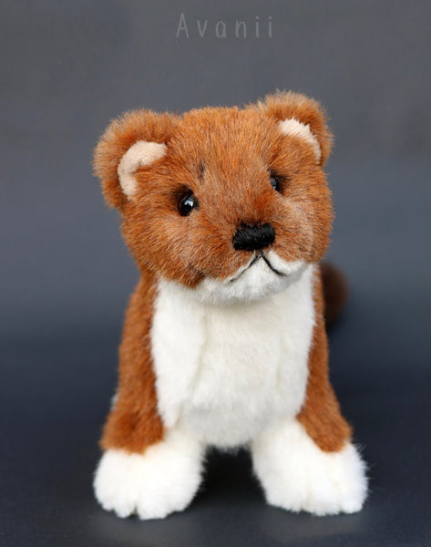 Stoat / Weasel - Handmade plush animal - realistic faux fur