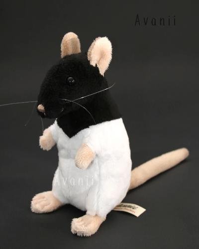 Black Hooded Rat Plushie - handmade plush animal - minky miniature