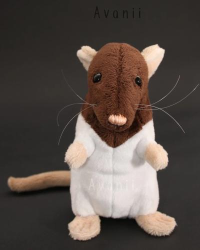 Brown Hooded Dumbo Rat Plushie - handmade plush animal - minky miniature