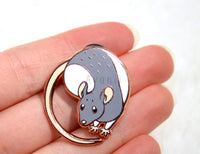 Little Companion: Grey Rat Hard Enamel Pin