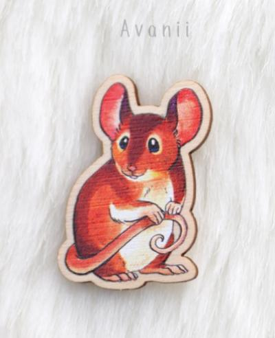 Little Companion: Mouse - wood pin