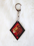 Magical Animal: Red Lion - Wooden Charm - 1,5 inch keychain