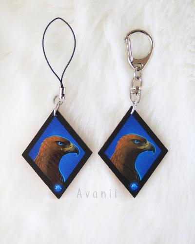 Magical Animal: Blue Eagle - Wooden Charm - 1,5 inch keychain