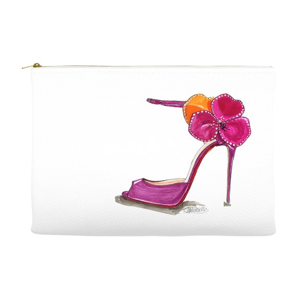 Pink Satin Rose Sandal Accessory Pouches - A Wincy Glass N Design