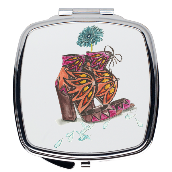 Sandals N Daisy Petals Compact Mirrors - A Wincy Glass N Design