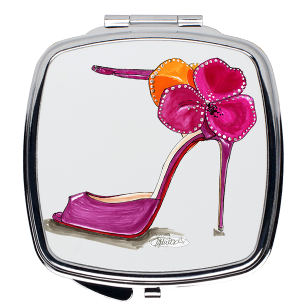 Pink Satin Rose Sandal Compact Mirrors - A Wincy Glass N Design