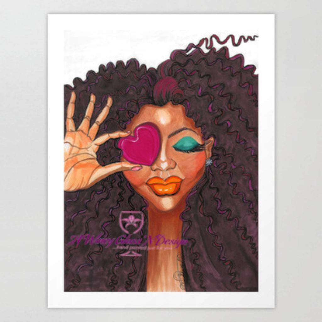 Loving Me Fashion Illustration Art Print - A Wincy Glass N Design