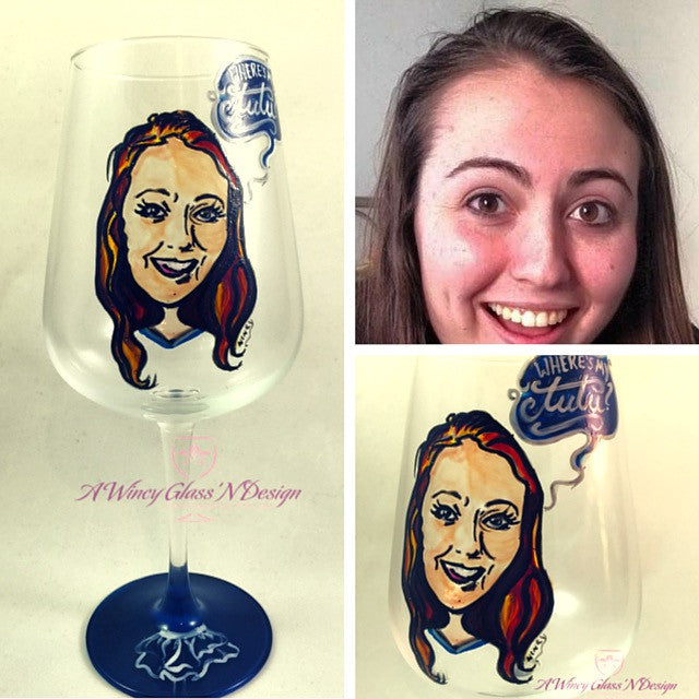 Custom Caricature Hand Painted Wine Glass - A Wincy Glass N Design
