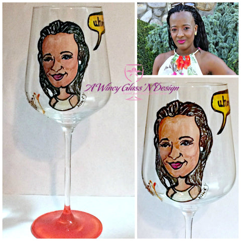 Custom Caricature Hand Painted Crystal Wine Glass - A Wincy Glass N Design