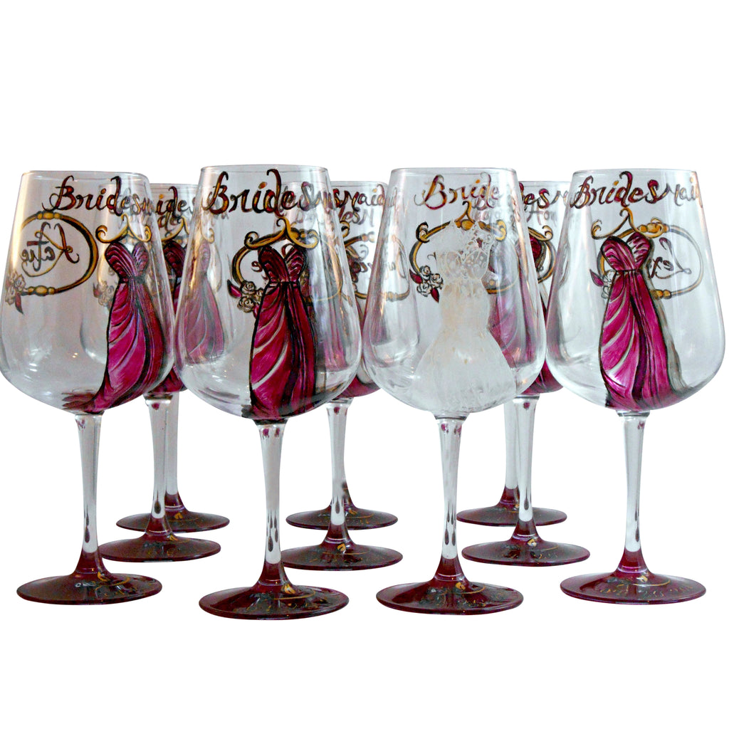 aa187c42a2e Personalized Custom Hand Painted Bridesmaids Dress Wine Glasses (Set of 10)  - A Wincy