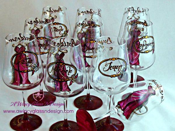 Personalized Custom Hand Painted Bridesmaids Dress Wine Glasses (Set of 10) - A Wincy Glass N Design