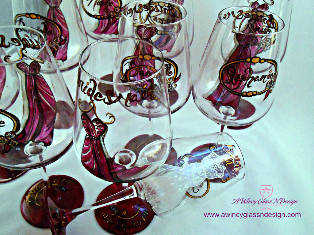 b1ca69a0ea4 ... Personalized Custom Hand Painted Bridesmaids Dress Wine Glasses - A  Wincy Glass N Design