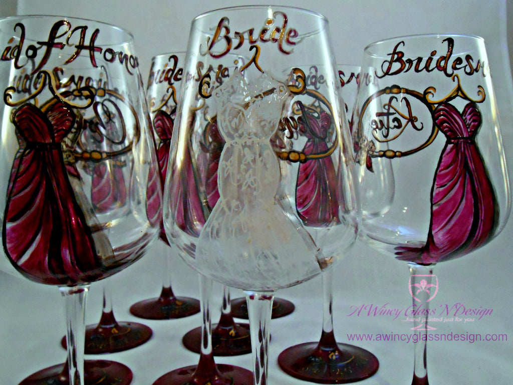 Personalized Custom Hand Painted Bridesmaids Dress Wine Glasses (Set of 5) - A Wincy Glass N Design