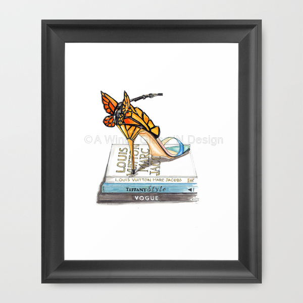 Butterfly Wing Sandal Fashion Illustration Art Print - A Wincy Glass N Design