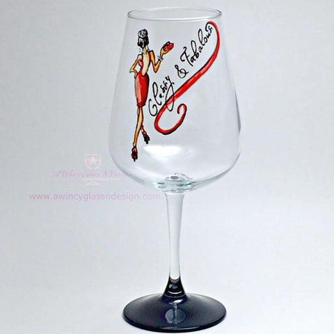 Classy & Fabulous Hand Painted Wine Glass - 1 Wine Glass - A Wincy Glass N Design