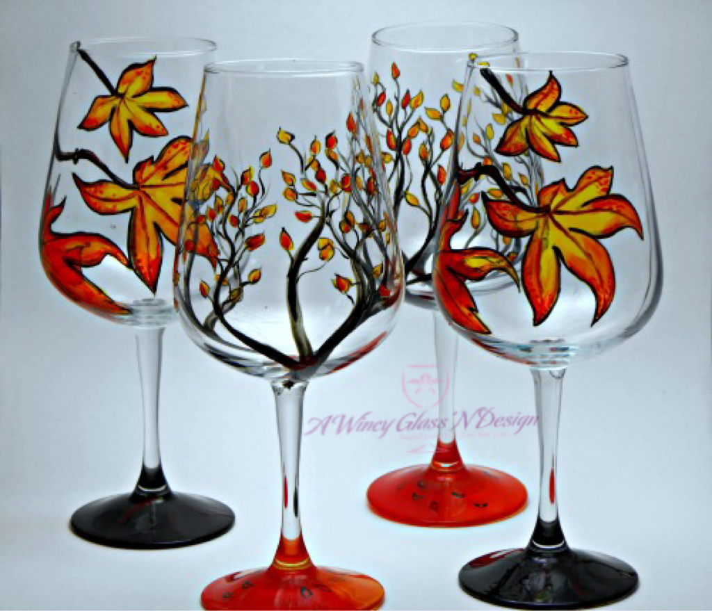 Fall hand painted wine glasses a wincy glass n design for Hand designed wine glasses
