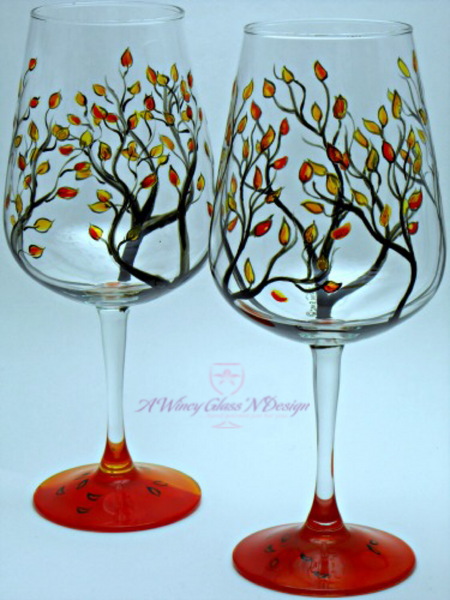 Fall Hand Painted Wine Glasses - A Wincy Glass N Design