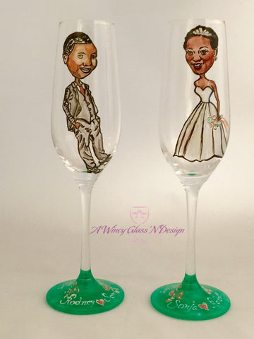 Custom Full Body Caricature Crystal Wedding Glasses