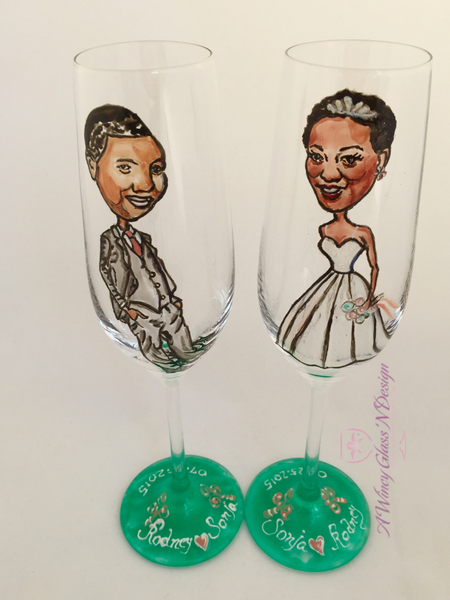 Custom Caricature Crystal Wedding Glasses - A Wincy Glass N Design