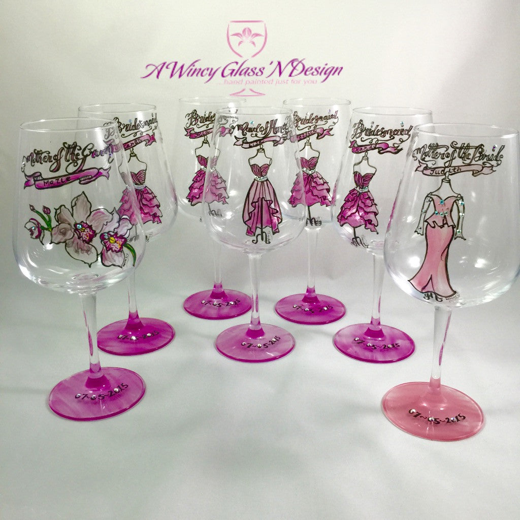 How to decorate wine glasses for bridesmaids - Swarovski Crystals Custom Hand Painted Bridesmaids Dress Wine Glasses Set Of 7 A