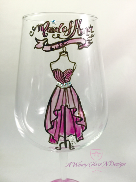 Maid of Honor Wine Glass, bridesmaids gifts