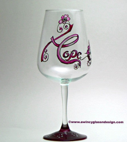 Hope Breast Cancer Hand Painted Wine Glass - 1 Wine Glass - A Wincy Glass N Design