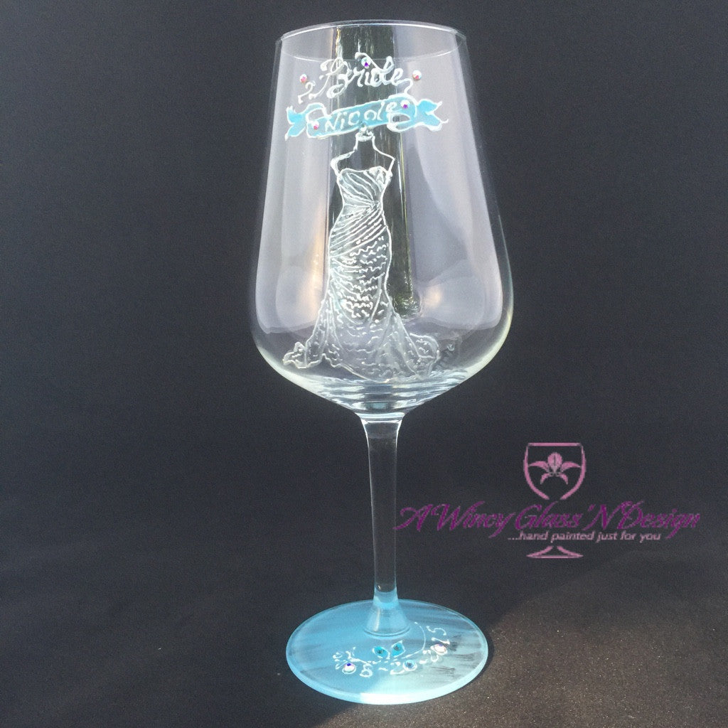 8cdc6753f80 ... Swarovski Crystals Custom Hand Painted Bridesmaids Dress Wine Glasses -  A Wincy Glass N Design ...