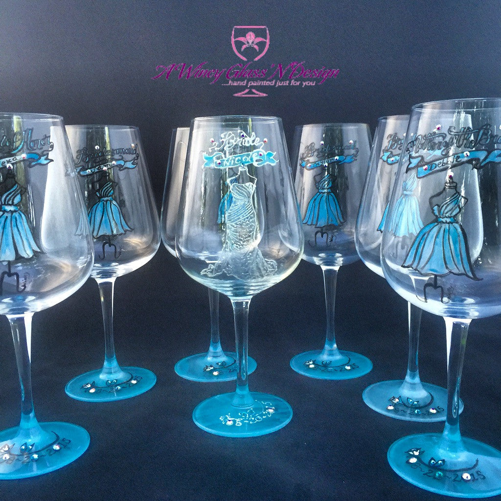 How to decorate wine glasses for bridesmaids - Bridesmaids Wine Glasses Bridal Party Gifts