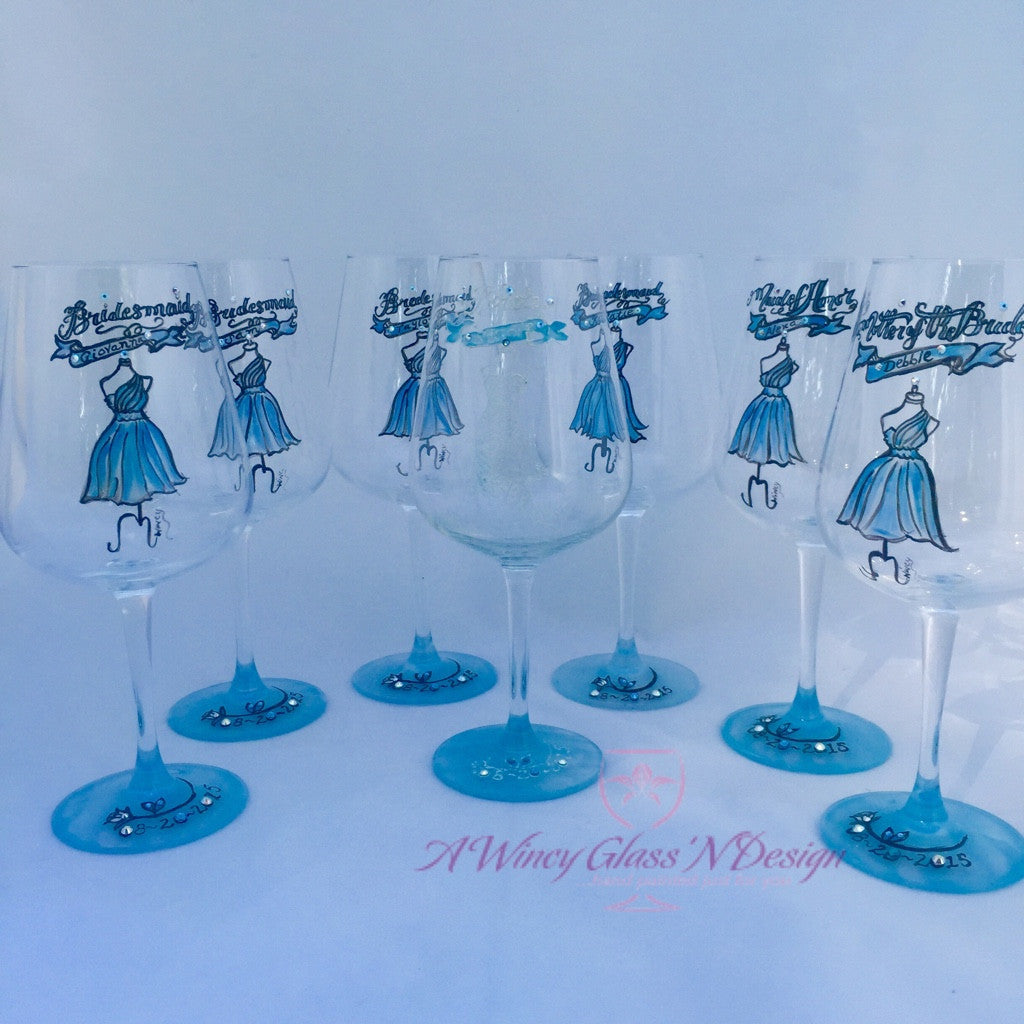 Swarovski Crystals Custom Hand Painted Bridesmaids Dress Wine Glasses - A Wincy Glass N Design