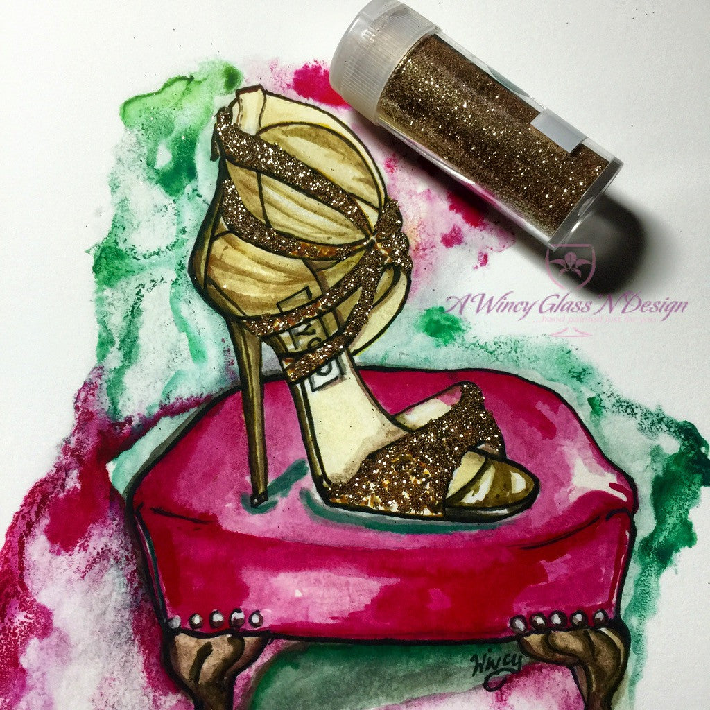 Glitter Sandal Fashion Illustration Print