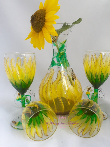 Sunflower Hand Painted Glasses & Decanter Set - A Wincy Glass N Design