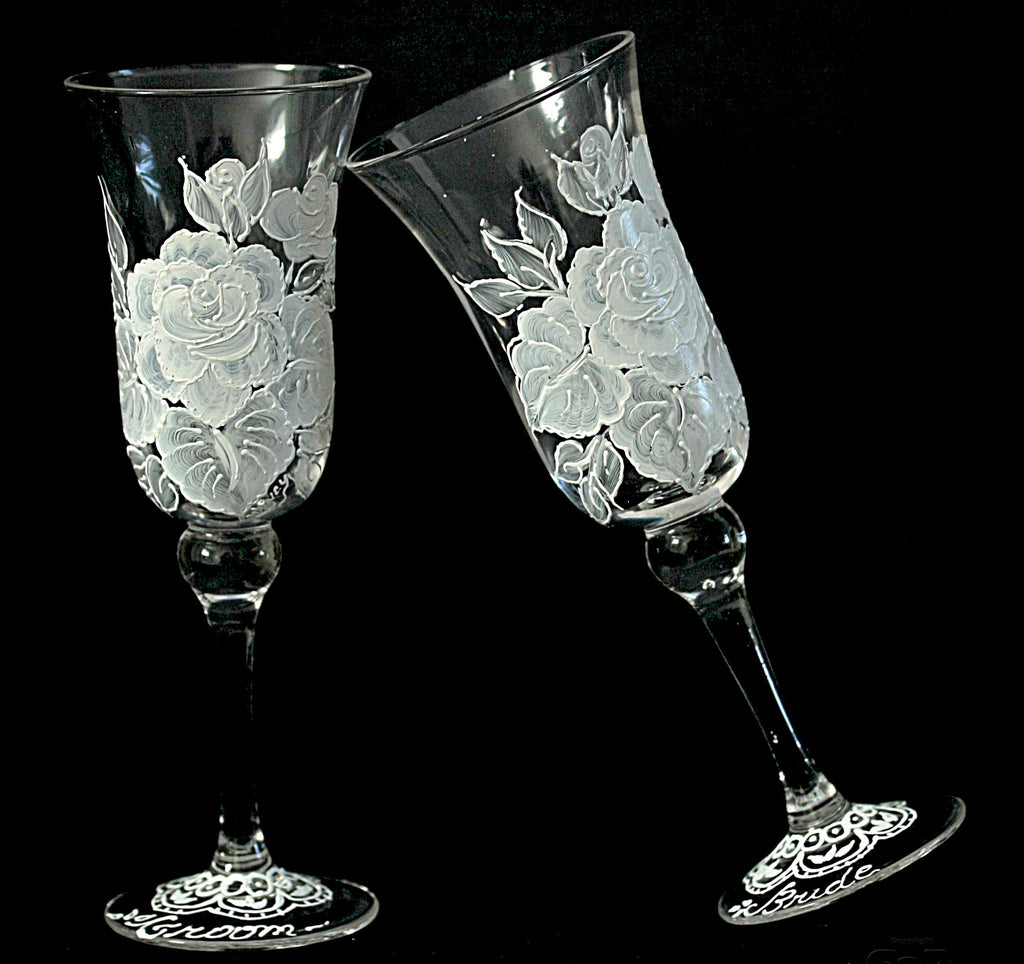 White Vintage Rose Hand Painted Champagne Flutes 2