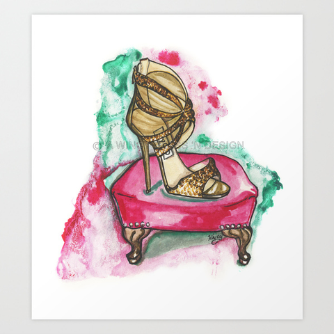 Glitter Sandal Fashion Illustration Print - A Wincy Glass N Design