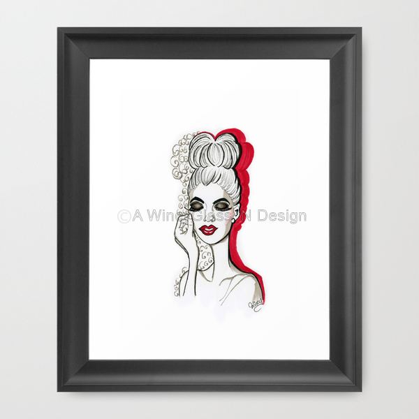 Miss Smokey Fashion Illustration Art Print - A Wincy Glass N Design