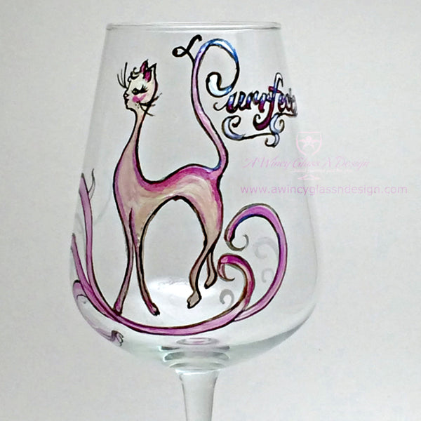 Miss Purrfect Hand Painted Wine Glass - 1 Wine Glass - A Wincy Glass N Design