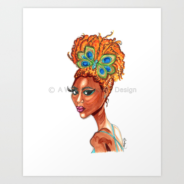 Peacock Butterfly Pinup Fashion Illustration Art Print - A Wincy Glass N Design