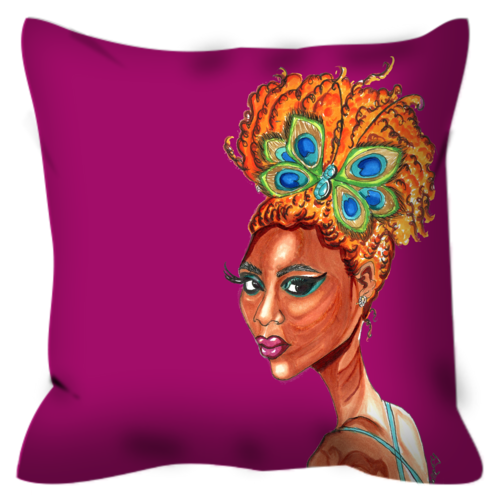 Peacock Butterfly Pinup Throw Pillow - A Wincy Glass N Design