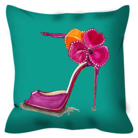 Pink Satin Rose Sandal Throw Pillow - A Wincy Glass N Design