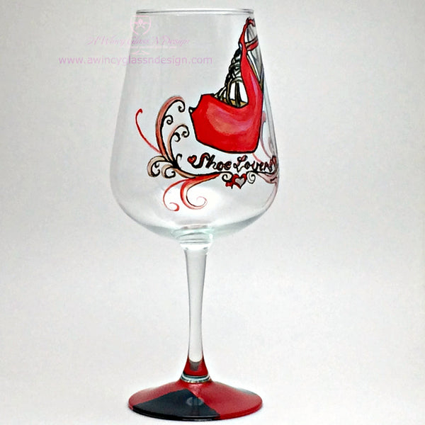 Shoe Lover Hand Painted Wine Glass